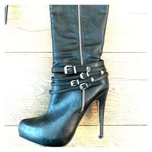 ALDO Knee-High Black Leather Boots!